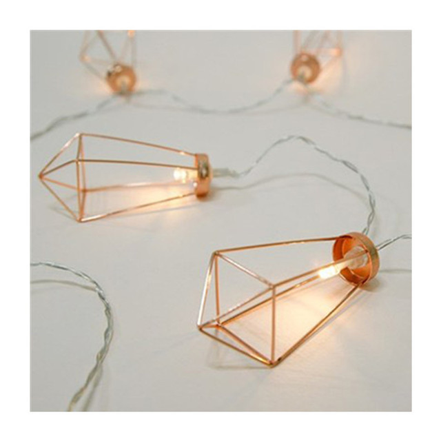Novelty LED Fairy Lights Rose Gold Geometric Bedroom String Light for Wedding Decorations Party Indoor Garden Garland Lighting