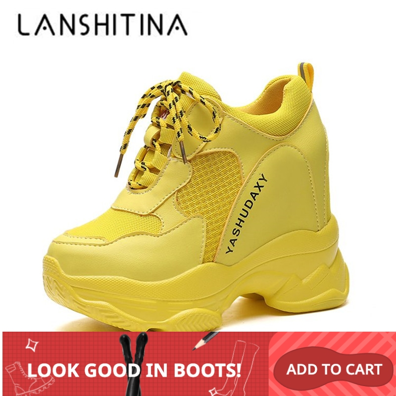 Women Platform Sneakers 2019 Summer Breathable Mesh Shoes Women Wedges Heels Casual Shoes 10 CM Thick Sole Trainers Red Shoes