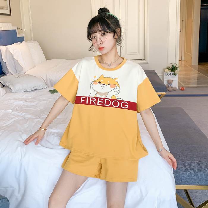 2020 Summer Casual Pajamas For Women Comfortable SleepWear For Girl Good Quality Cotton Femal Pyjamas Short Sleeve Suits