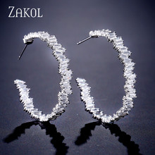 ZAKOL Luxury Baguette Trendy Fashion AAA Cubic Zirconia T Stone Hoop Earrings For Women Accessories FSEP2254