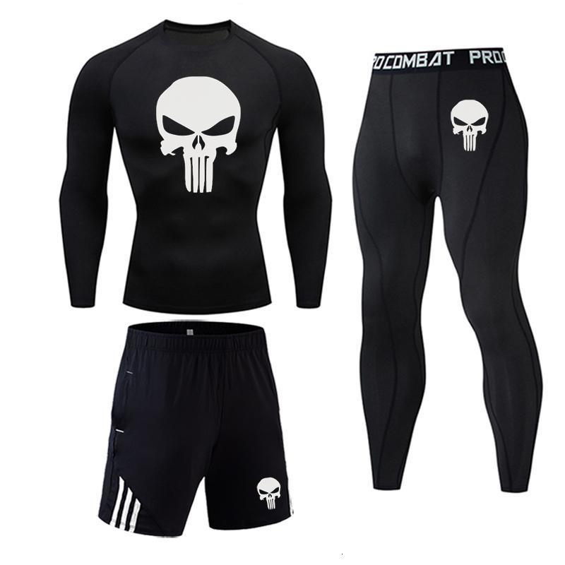 Punisher Thermal Underwear Compression Sportswear Leggings Gym Shirt Tights Jogging Suits Skull Tracksuit Men Fitness Rash Guard