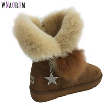 Womens Snow Boots with Fox Fur Ball High Real Sheepskin Genuine Leather 100% Natural Warm Wool Winter