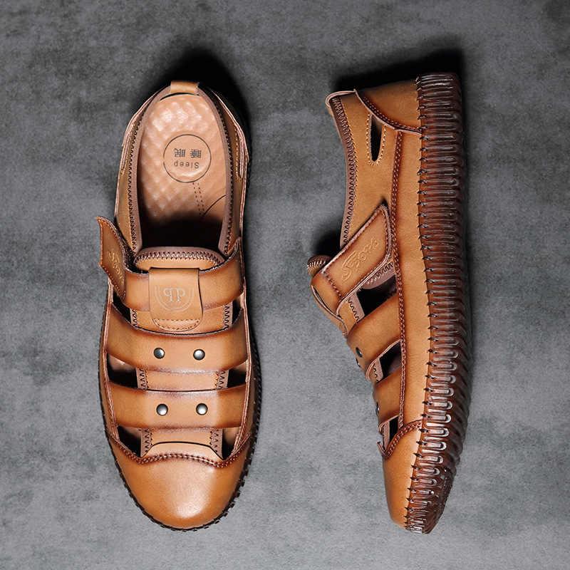 Sandálias masculinas de couro buns tendência respirável mid life sapatos de  praia casual sandálias confortáveis|Sandálias masculinas| - AliExpress