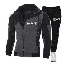 Novo ea7 terno de outono dos homens com zíper com capuz + calças duas peças de roupas esportivas esportivas casuais dos homens ginásio roupas de marca