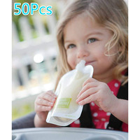 BeiKangMei 50Pcs Single Use Food Pouch Packaging Squeeze Pouch Plastic Smoothie Squeeze Bags Refillable Fresh Storage Bag With