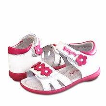 Sandálias de couro legítimo ortopédicas, para meninas, crianças, sapatos macios, 1 par
