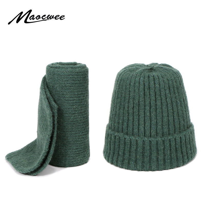 Children Scarf Hat Set Skullies Beanies For Knitting Autumn And Winter Warm Solid Color White Girl High Quality Outdoor Fashion