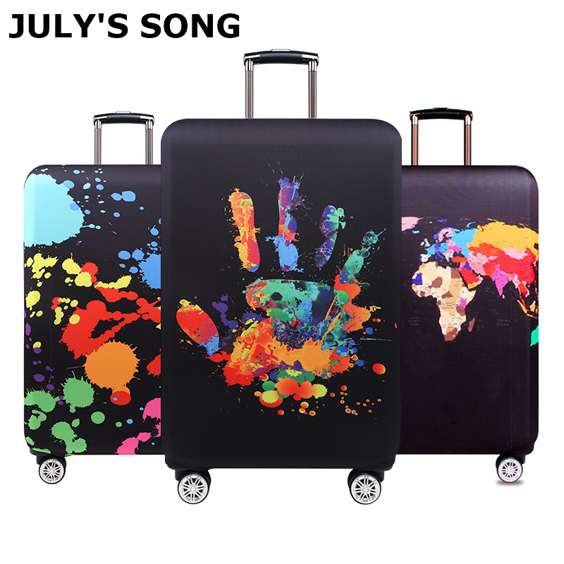 JULY'S SONG Brand Luggage Protection Cover Trolley Case Dustproof Elastic Suitcase Cover Travel Accessories For 18-32 Inch Box