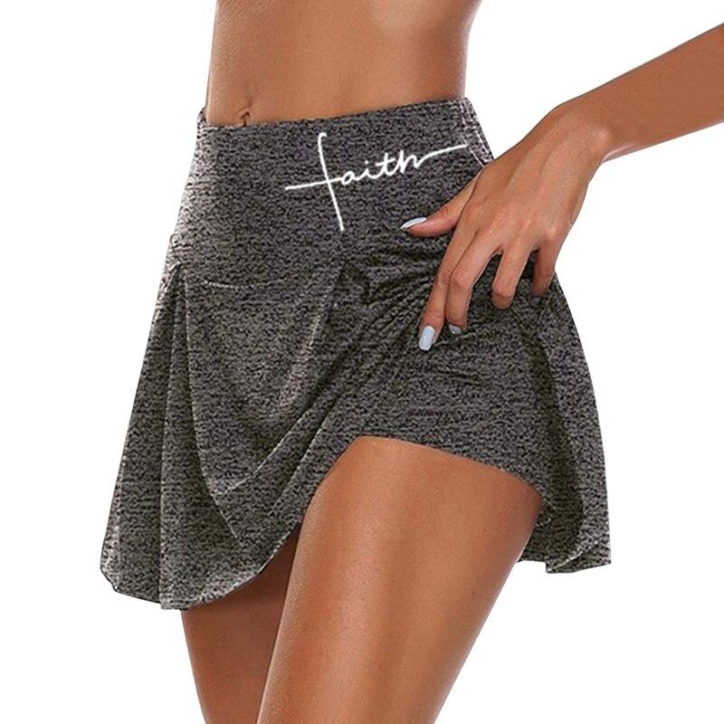 Gym Women Running Shorts Skirt High Waist New Shorts Mesh Double Layer Print Patchwork Fitness Shorts Sports Short Skirt Drop