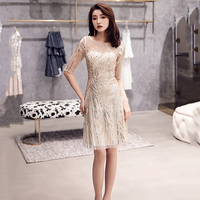 Gold Female Mini Dress Beads Sequins Evening Party Dress Women Qipao Cheongsam Summer Sexy Mesh Dress Young Lady Prom Gown