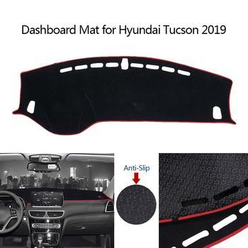 Mata do deski rozdzielczej samochodu mata deska pasujące do Hyundai Tucson 2019 bez wyświetlacza Head-up lewy ster antypoślizgowa deska rozdzielcza pokrywa ochronna tanie i dobre opinie AUMOHALL CN (pochodzenie) Sztuczna skóra Pole karne z lewego steru