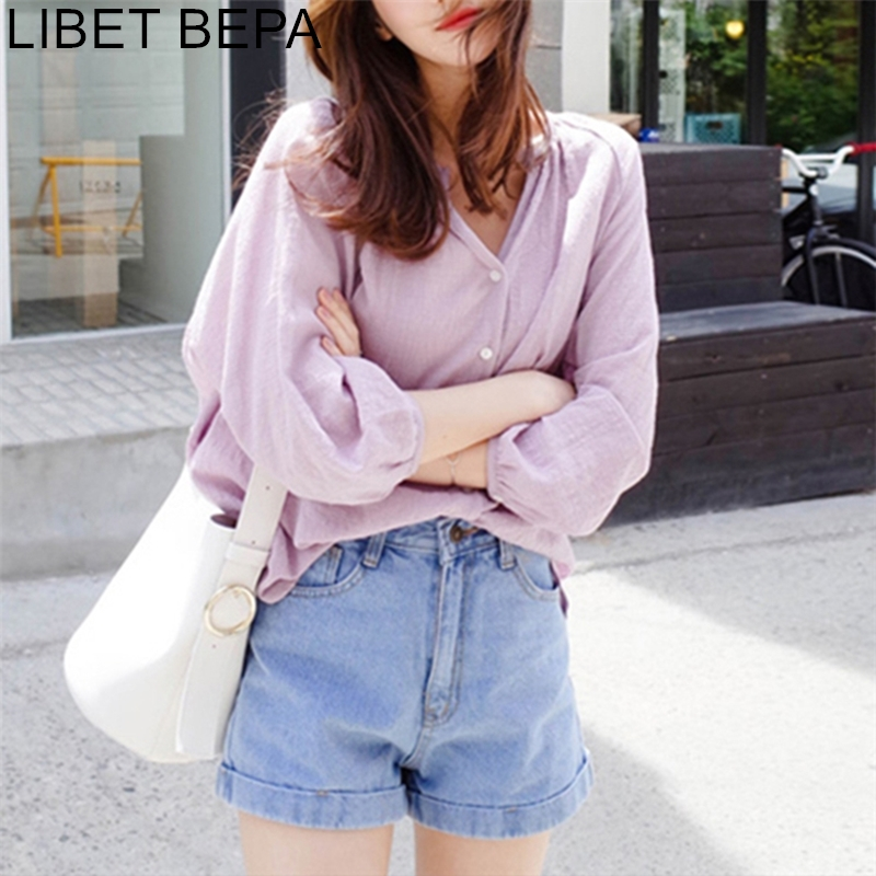 New 2019 Fall Spring Women's Blouse Casual Fashionable Korean Style V-neck Shirt Loose Clothes Lantern Sleeve Linen Tops BL1710