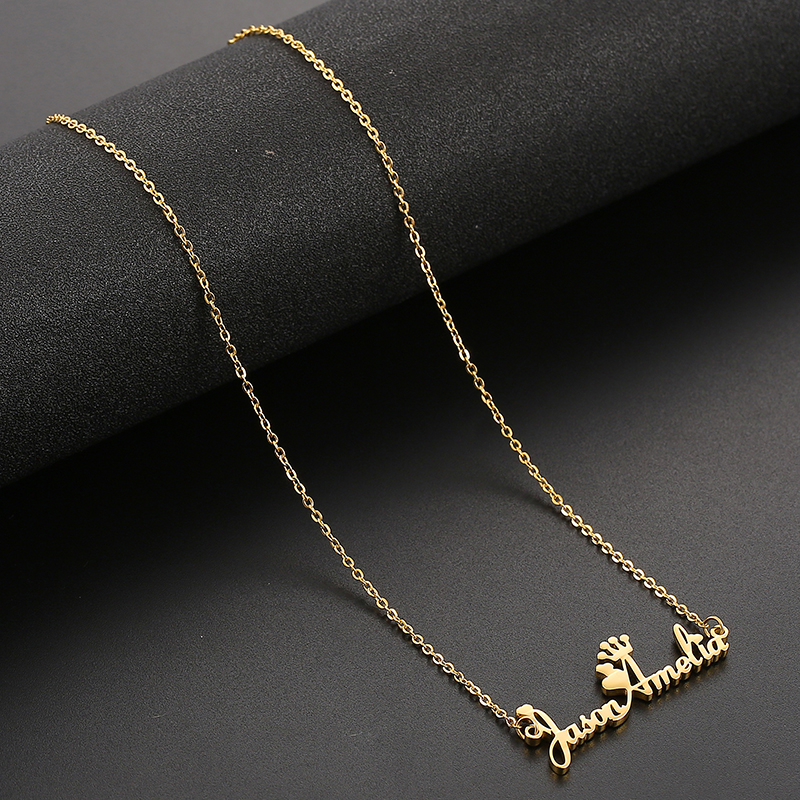 Personalized 3 Name  Necklace Custom Steel Gold Pendent Love Heart Crown Jewelry For Women Man Jewellery Accessories Gift 2019