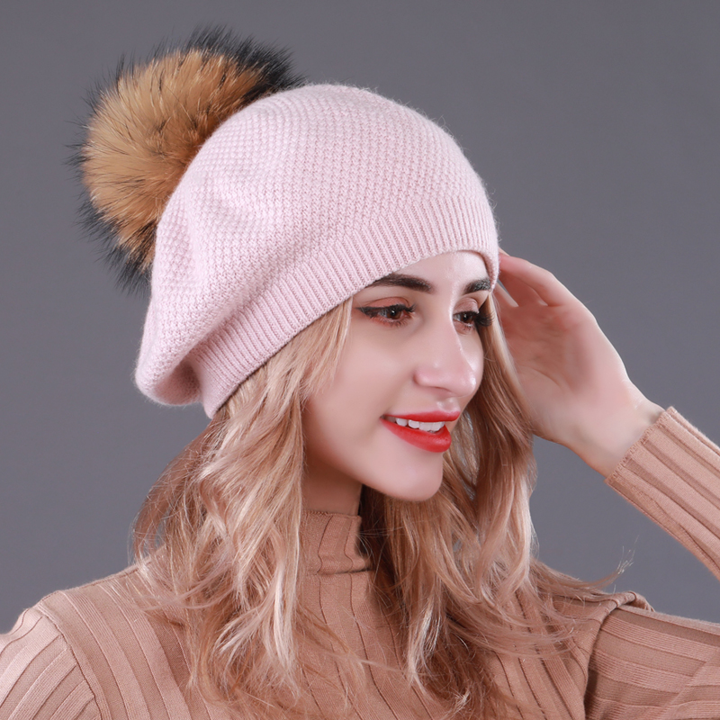 Sole Crowd Women Knitted Wool Berets Winter Warm Double Layer Hats With Natural Pompom Real Fur Caps Fashion Ladies Beanies