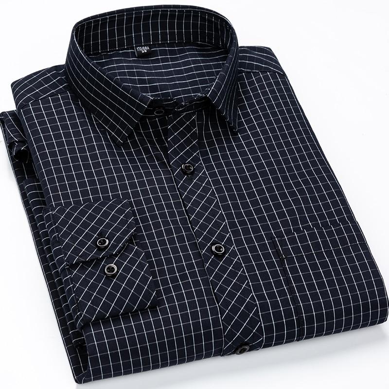 Men's Classic Standard-fit Plaid/striped Social Office Dress Shirt Single Patch Pocket Long Sleeve Formal Business Basic Shirts