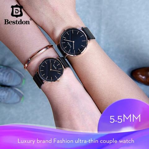 Masculino e Feminino Marca de Luxo Quartzo à Prova Bestdon Casal Relógios Minimalista Unisex Moda 2020 Relógio Dwaterproof Água Par