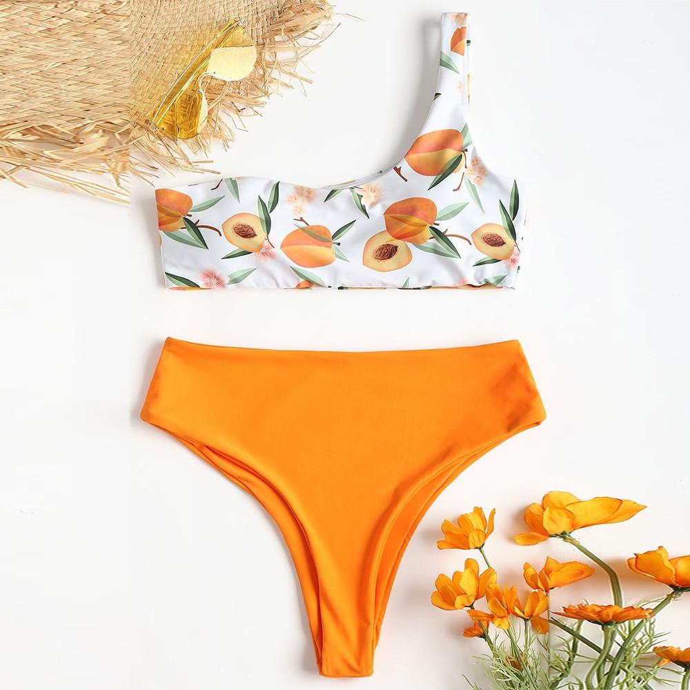 Cute Girls Ladies Women Bikini Set Peach Print Swimwear Leisure Push-Up Padded Print Single Shoulder Sexy Swimsuit Drop Shipping