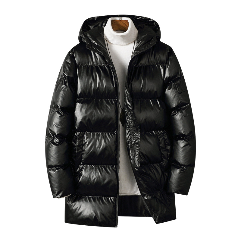 Winter Warm Light Long Parkas Men Waterproof Jacket Coat Large Size Men's Thicken Smooth Shiny Hooded Cotton-padded Clothes