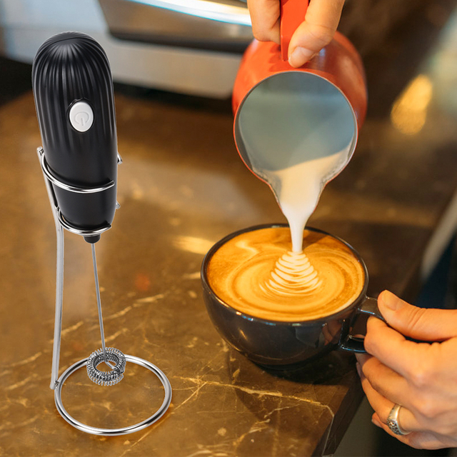 Electric Coffee Blender Milk Jugs Frother Kitchen Whisk Mixer Hand Milk Foamer for Coffee Cappuccino Creamer Frothy Blend Whisk 6