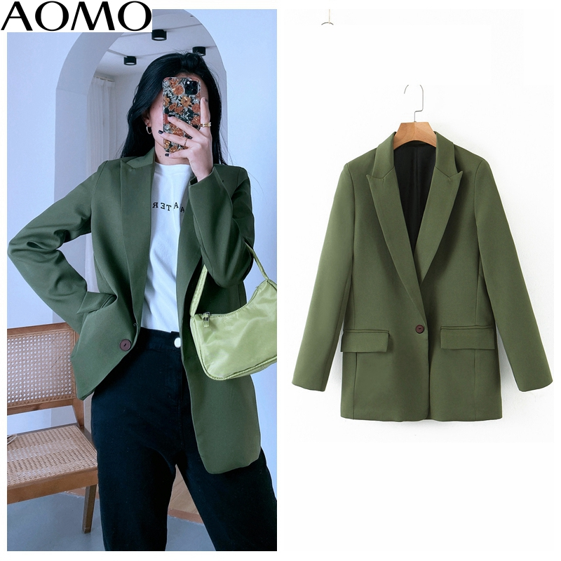 AOMO Fashion Women Amy Green One Button Blazer Female Long Sleeve Female Casual Jacket Blazer Formal Suits SL216A