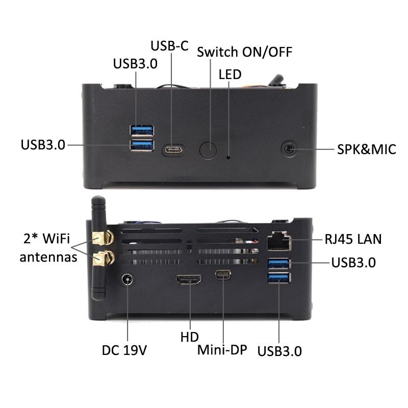 Новейший i9 9880H мини игровой ПК мощный i7 9850H настольный компьютер небольшого размера 2 * DDR4 64 Гб 2 * M.2 PCIE + 1*2,5 ''SATA HDMI DP AC wifi