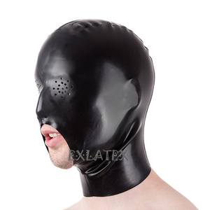 Latex Hood Unisex Deadpool mask sm Mask Perforated Eyes with Open Chin Rubber Cocksucker Hood Fetish bdsm Hood(China)