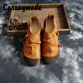 Careaymade-Spring Hand-Stitched Mori Retro Women's Genuine Leather Shoes Full-Grain Leather Artistic Low Heel single Shoes