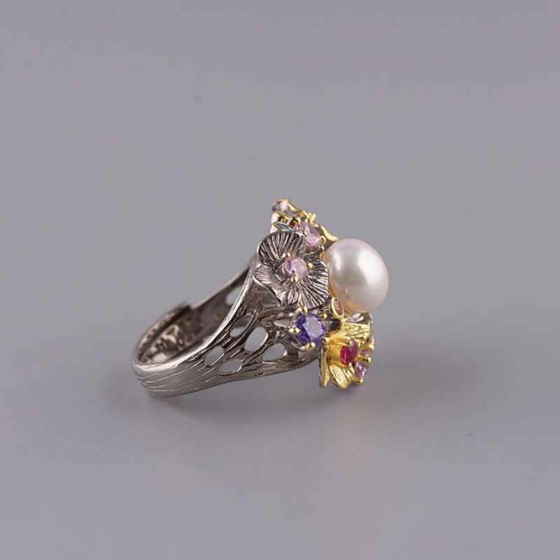 Leouerry 925 серебро Bauhinia венок жемчужное кольцо натуральный большой пресноводный жемчуг Cz Открытые Кольца для женщин ювелирные украшения