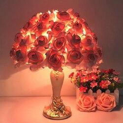 Lampa biurkowa Crystal tanie oryginalność lampa studyjna Nordic czerwona róża lampa stołowa lampy do sypialni lampa Daglichtlamp Lampe De Bureau Abajur