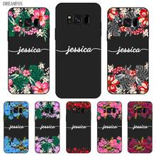 Flower Custom Your Name DIY Black Soft TPU Silicon Case Cover For Samsung Galaxy S5 S6 S7 S8 S9 S10 S10E Lite Edge Plus
