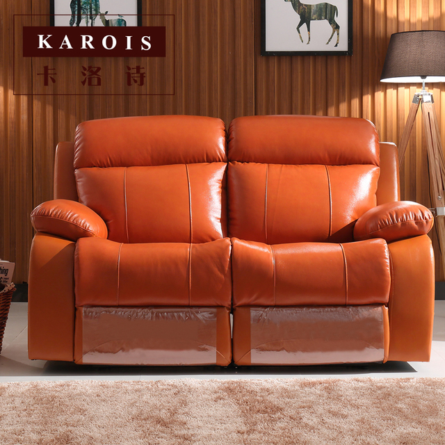 Leather Recliner Home Theater Sofa Set 4