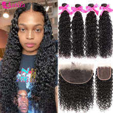 Laço frontal com pacotes malaio onda de água pacotes com frontal aatifa 10a cabelo humano virgem 2/3 pacotes com fechamento