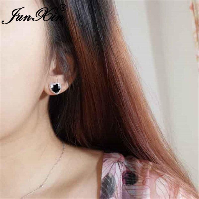 Boho Black Zircon Love Heart Stud Earrings For Women White Gold Rose Gold Crystal Stone Wedding Ear Studs Daily Party Jewelry Cz