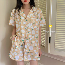 2020 Summer New Girls Pajama Set Comfortable Cotton Romantic Flower Pattern Home Clothes Pants Women