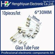 Fusíveis térmicos rápidos do tubo de vidro do fusível do sopro do multímetro de hzy 10 pces 6*30mm 250 v 1a/2a/3a/4a/5a/6a/7a/8a/10a/15a/20a /25A/30A