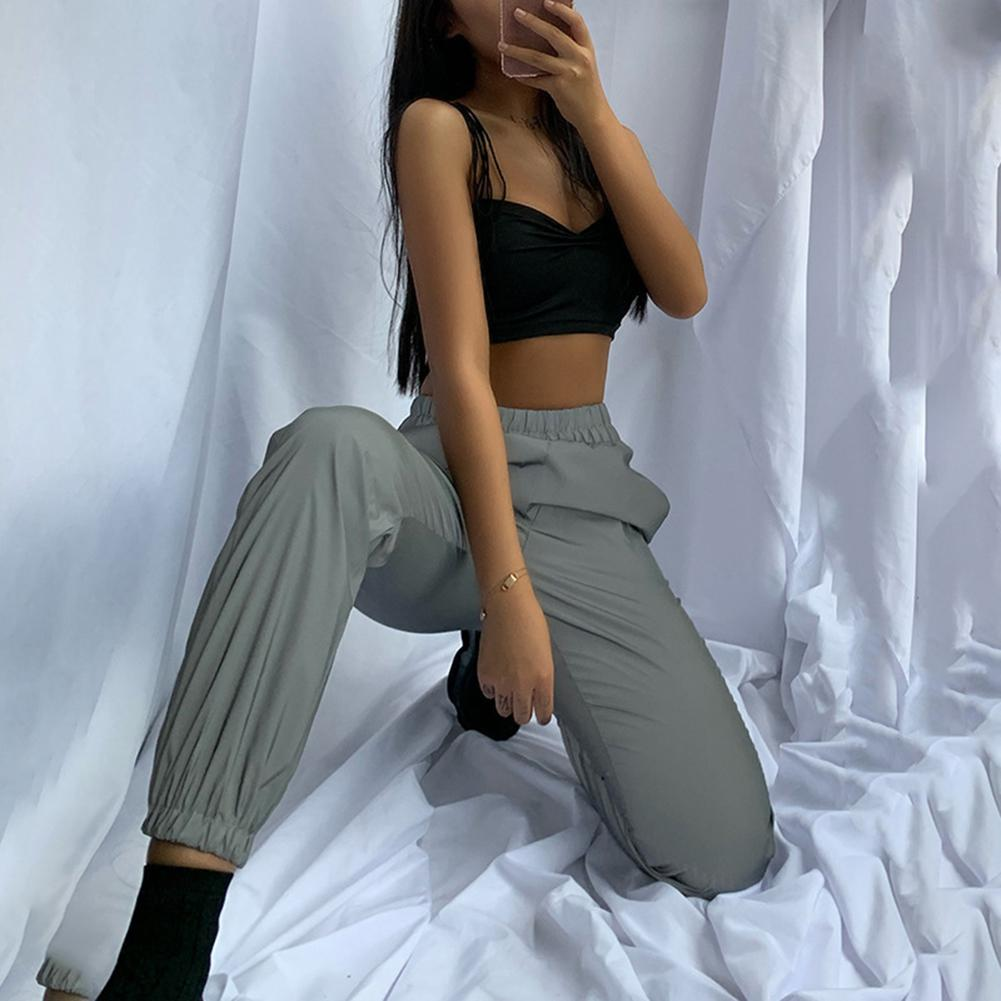 Fashion Lady Casual Solid Color Elastic Luminous Cargo PantsAnkle-Tied Trousers