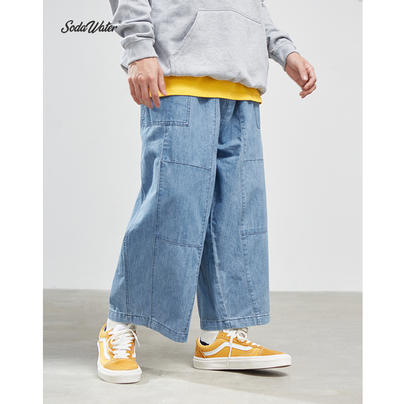 SODAWATER Men Baggy Jeans Streetwear Loose Fit Straight Men Denim Jean Pant Men 2019 Autumn Harajuku Jean Blue Men Jeans 94522WS