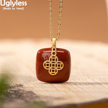 Cross-Necklaces Pendants Jewelry No-Chains Agate Natural Jade 925-Silver Gold Women Square