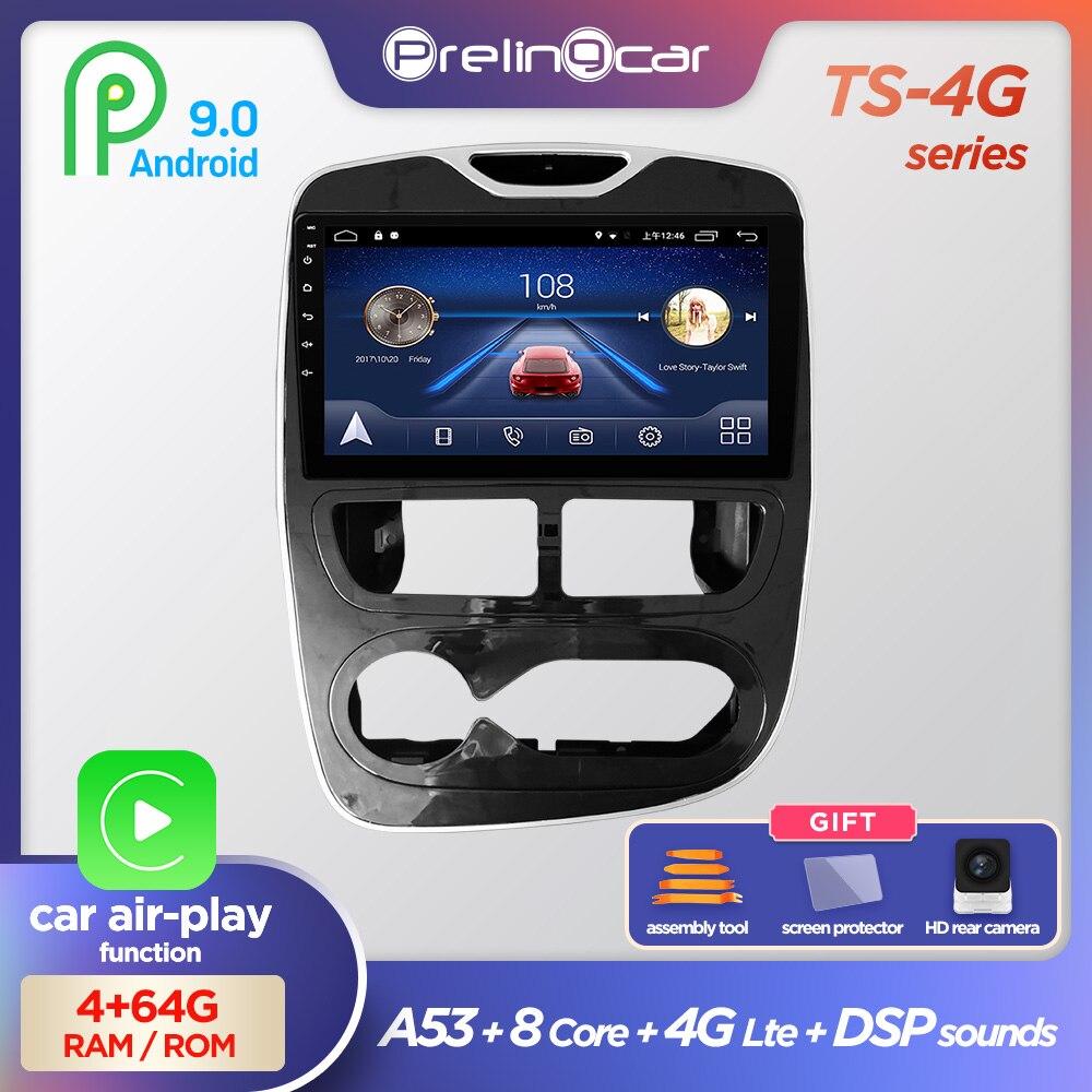 Prelingcar Android 9,0 без DVD 2 Din Автомобильный Радио Мультимедийный видео плеер навигация GPS для RENAULT clio 3 4 2013-2018 Восьмиядерный 4G