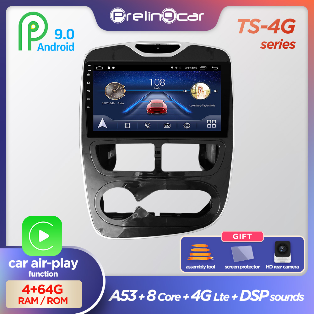 Prelingcar For RENAULT CLIO Double Din NO 2din DVD 2din Android 9.0 Car Radio Multimedia Video Player Navigation GPS 4+64G 2+16G