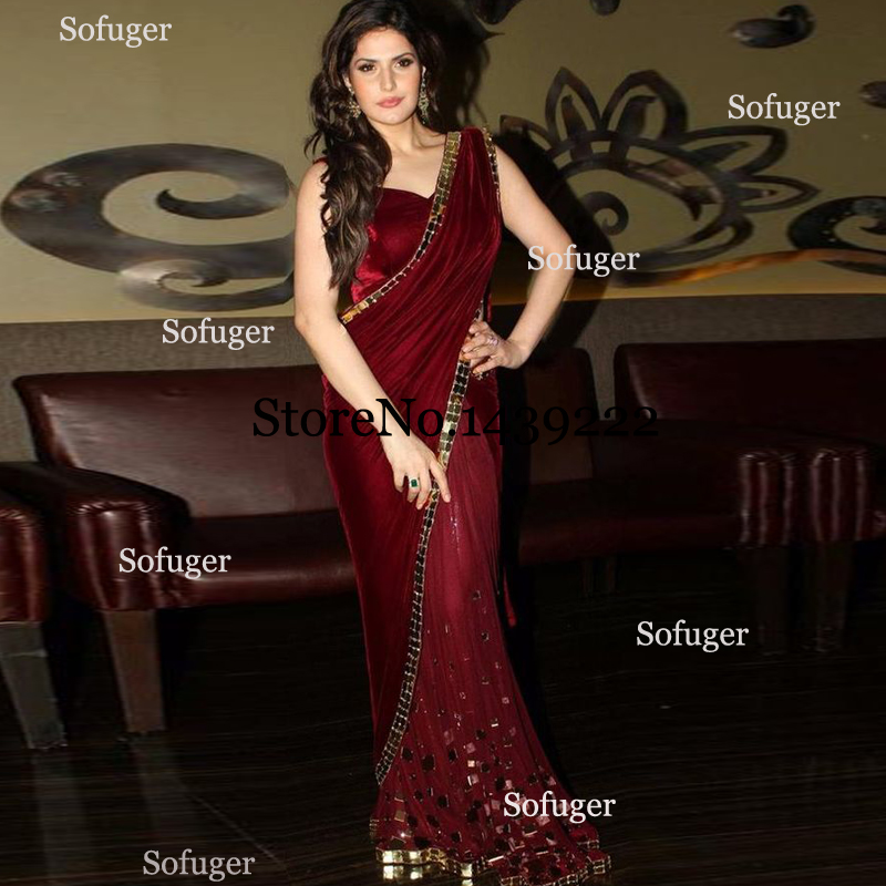 Burgundy Saree Fabulous Evening Dresses Backless Saudi Arabic Indian Special Occasion Robe De Soiree Formal Prom Party Gown