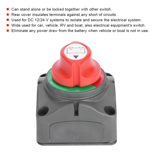 3 Gear Battery Power Cut Master Knob Switch Disconnect Isolator Anti-Leakage for Car RV Boat Car Accessory New