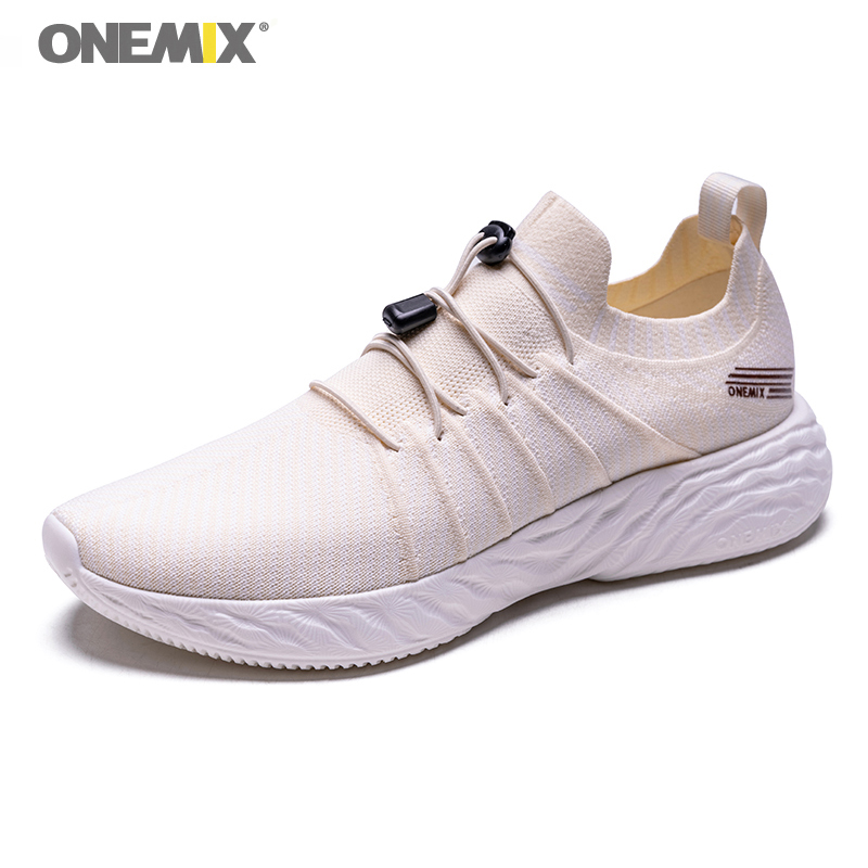 ONEMIX Men's Sport Running Shoes Breathable Road Running Shoes Outdoor Man Light Weight Slip On Sneakers Travel Walking Shoes