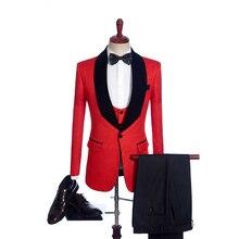 Fnoexw personalizado 2019 vermelho noivo smoking festa de casamento terno do padrinho de negócios terno ternos de casamento dos homens (jaqueta + calças + colete + gravata)