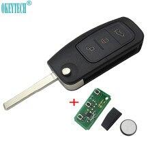 OkeyTech 315MHz 433MHz 4D63 Chip 3 przycisk odwróć składany zdalnie sterowanym samochodowym kluczem do Ford Focus 2 3 mondeo Fiesta etui na kluczyk/pilota do samochodu 4D60