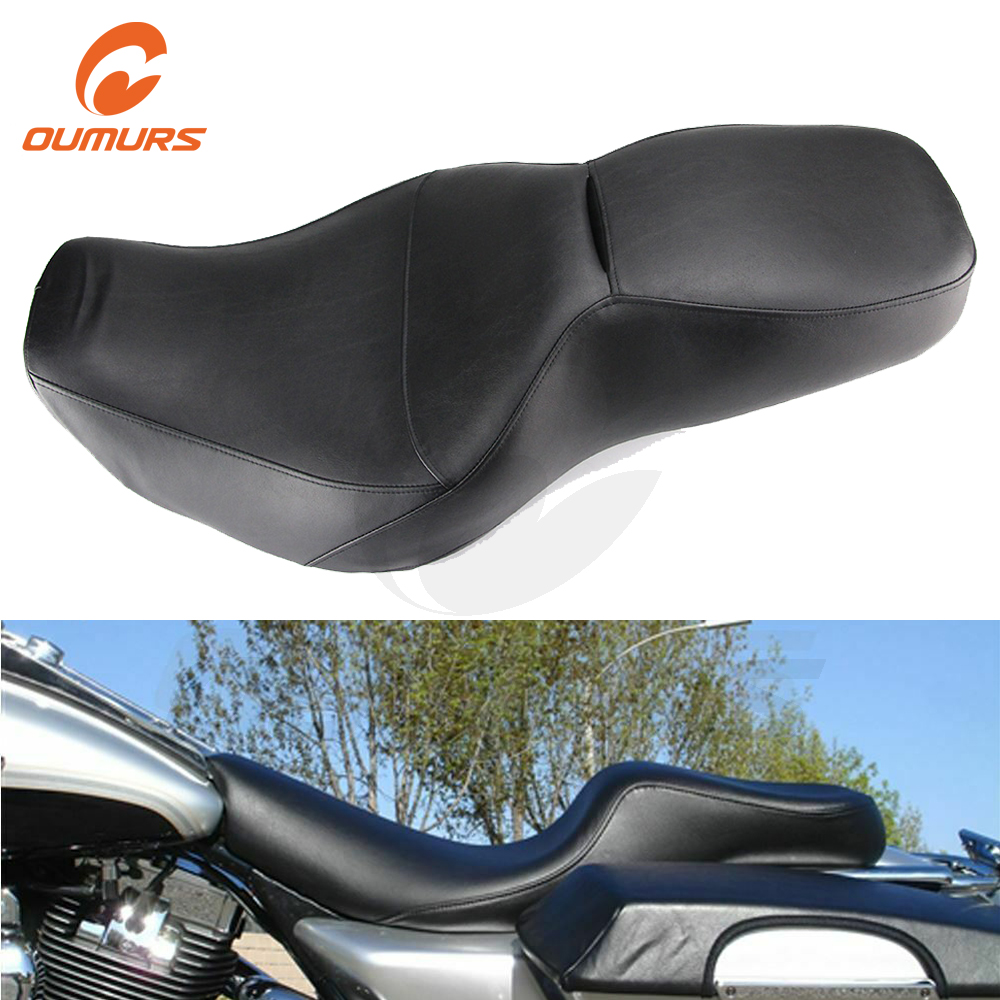 OUMURS Motorcycle Driver Passenger Two-Up Seat With Backrest Slot Water Resistant Coating For Harley Road King FLHR 1997-2007