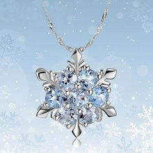 Romantic Gifts Unique Elegant Blue Crystal Snowflake Frozen Flower Pendants Necklace Valentine's Lover's Gift Jewelry