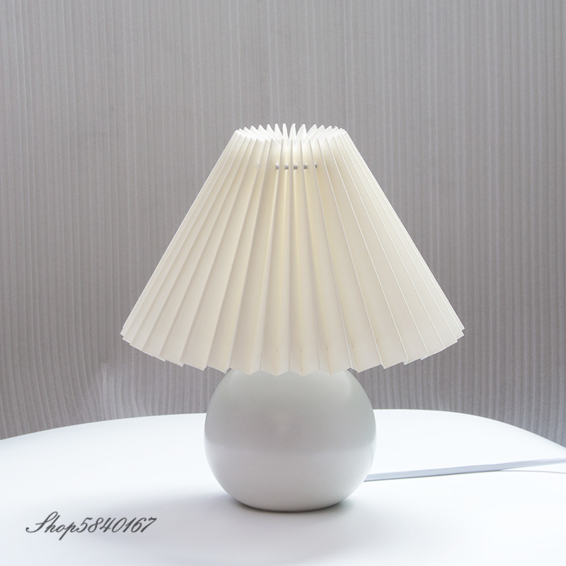 Retro Pleated Beside <font><b>Lamp</b></font> <font><b>Table</b></font> Korean <font><b>Table</b></font> <font><b>Lamps</b></font> Cute Desk <font><b>Lamp</b></font> for Bedroom Girl Princess Bed <font><b>Lamp</b></font> Deco <font><b>Ceramic</b></font> <font><b>Base</b></font> LED Light image