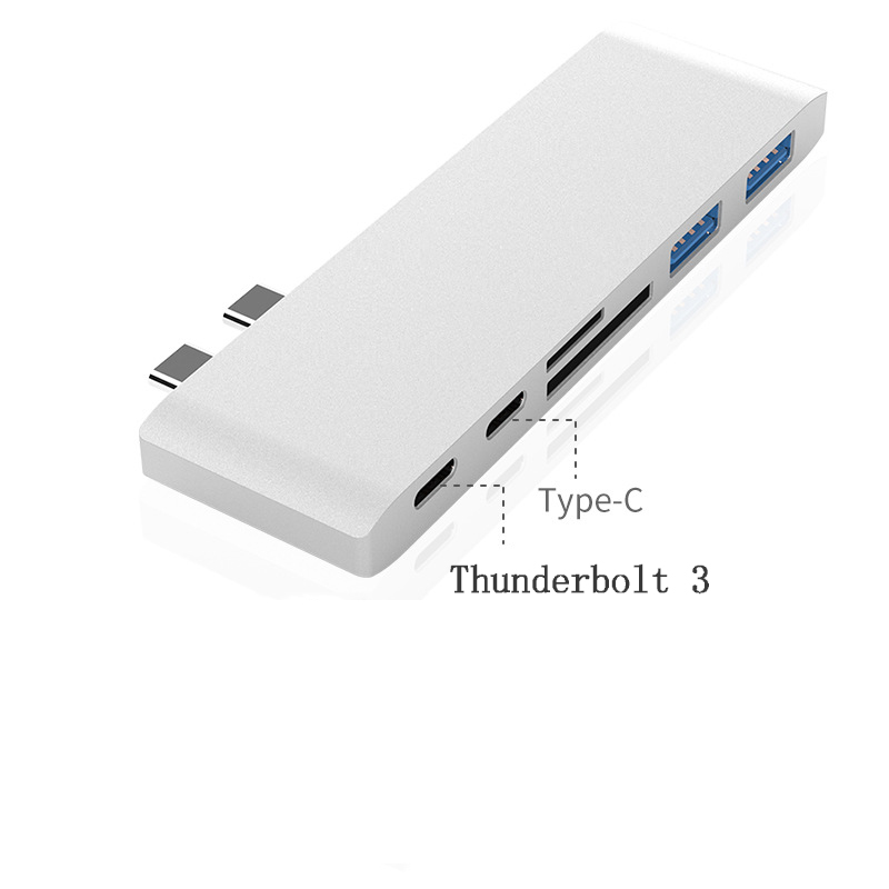 Double Type-C Hub + Card Reader + PD Charging 4K HD MacBook Converter
