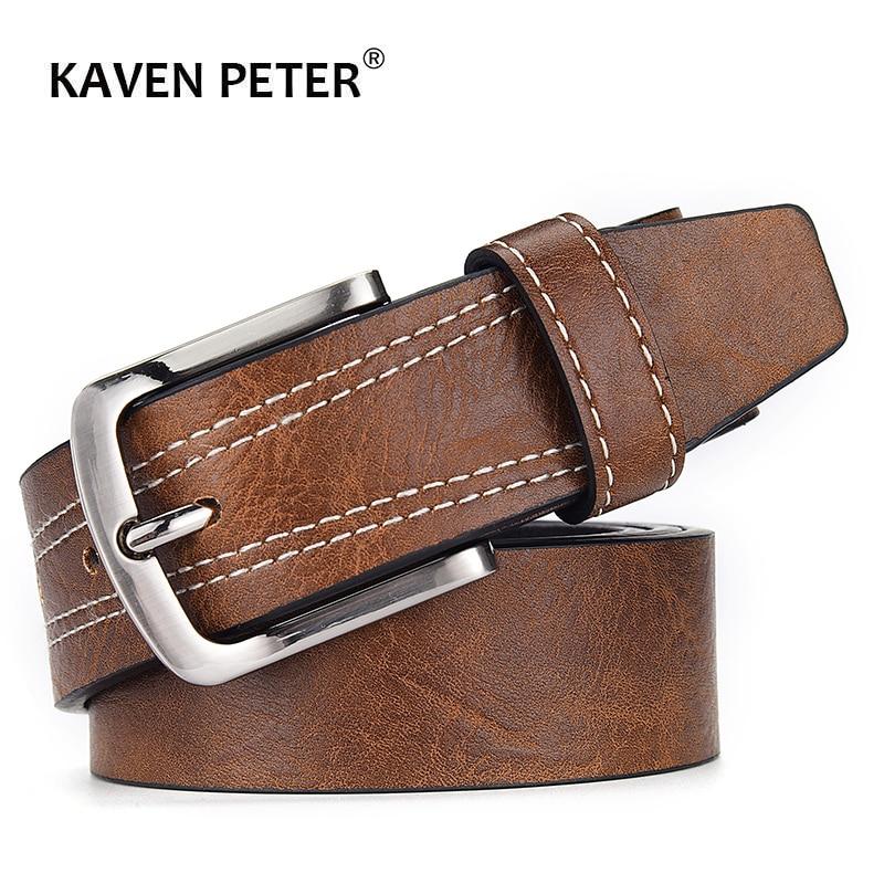 Belts Men Leather Business Designer Belt Men Vintage Luxury High Quality Pin Buckles For Trousers Brown Black Navy Color